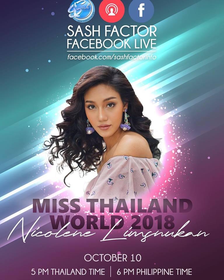 ห้ามพลาด!! นิโคลีน มิสไทยแลนด์เวิลด์2018 ให้สัมภาษณ์ผ่าน Facebook Live ที่เพจ Sash Factor