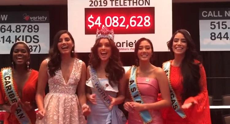คณะ Miss World   ร่วมระดมทุน Variety - the Childrens Charity of Iowa  ยอดบริจาค 129 ล้านบาท